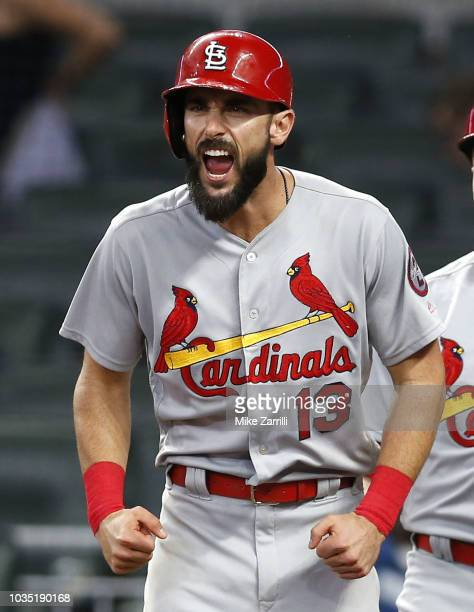 First baseman Matt Carpenter of the St Louis Cardinals yells after centerfielder Harrison Bader of the St Louis Cardinals hits a 3run home run in the...