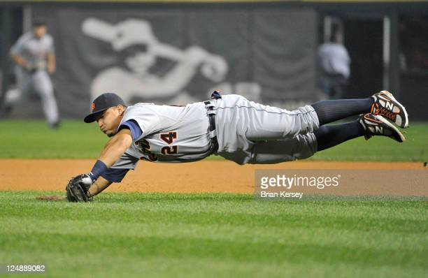 First baseman Miguel Cabrera of the Detroit Tigers catches a line drive against the Chicago White Sox during the first inning at US Cellular Field on...
