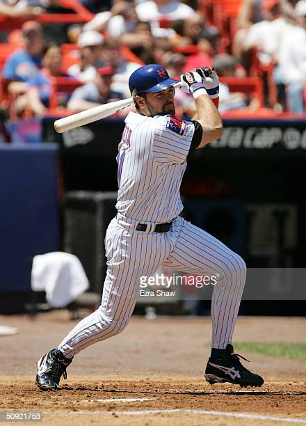 First baseman Mike Piazza of the New York Mets at bat during the game against the St Louis Cardinals on May 20 2004 at Shea Stadium in Flushing New...