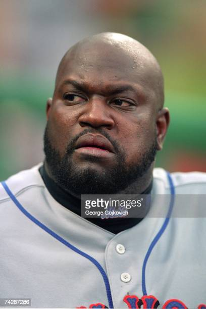 First baseman Mo Vaughn of the New York Mets in the dugout during a game against the Pittsburgh Pirates at PNC Park in 2003 in Pittsburgh Pennsylvania