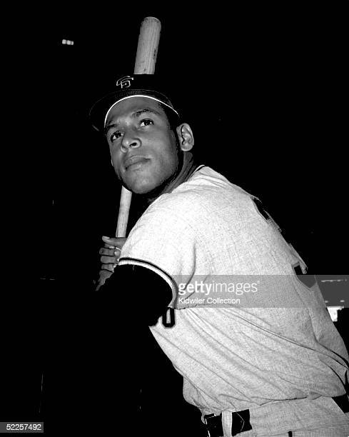 First baseman Orlando Cepeda of the San Francisco Giants poses for a portrait prior to a 1962 game against the New York Mets at the Polo Grounds in...