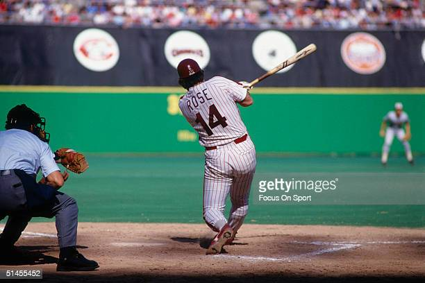 First baseman Pete Rose of the Philadelphia Phillies bats during the World Series against the Baltimore Orioles at Veterans Stadium in October 1983...