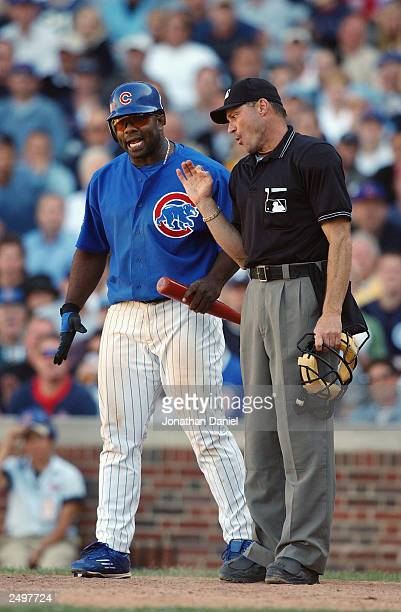 First baseman Randall Simon of the Chicago Cubs argues a strike call with home plate umpire Bill Hohn in the seventh inning of a game against the St...