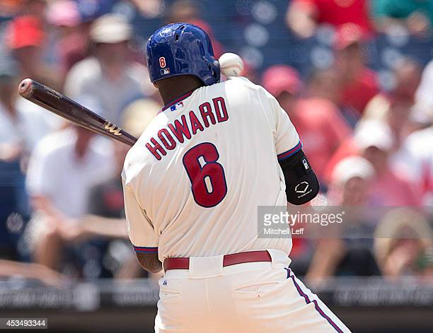 First baseman Ryan Howard of the Philadelphia Phillies is hit by a pitch in the bottom of the sixth inning against the New York Mets on August 11,...