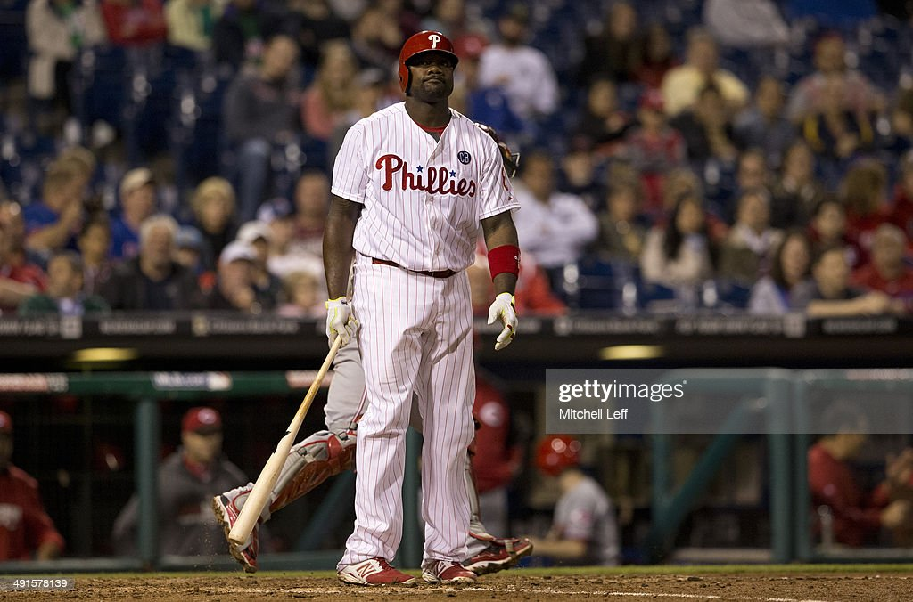 First baseman Ryan Howard #6 of the Philadelphia Phillies reacts after striking out in the bottom of the eighth inning against the Cincinnati Reds on May 16, 2014 at Citizens Bank Park in Philadelphia, Pennsylvania.