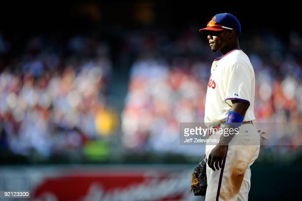First baseman Ryan Howard of the Philadelphia Phillies stands in the field against the Colorado Rockies in Game Two of the NLDS during the 2009 MLB...