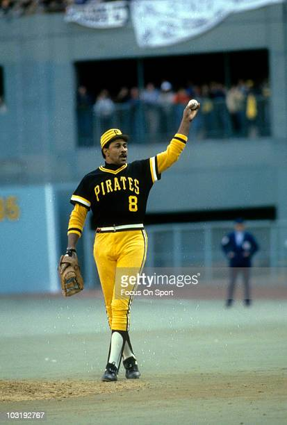 First baseman Willie Stargell of the Pittsburgh Pirates in this portrait walking to the mound with ball in hand circa 1979 during a Major League...