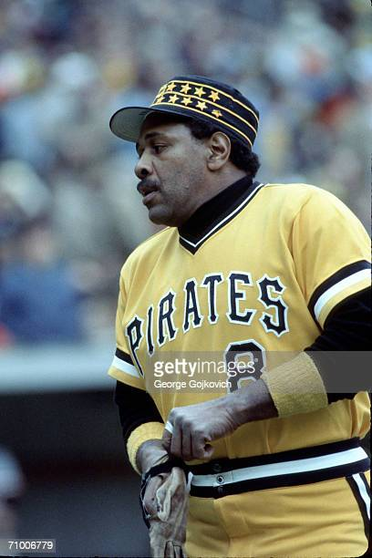 First baseman Willie Stargell of the Pittsburgh Pirates puts on a batting glove during a game against the Baltimore Orioles in the 1979 World Series...