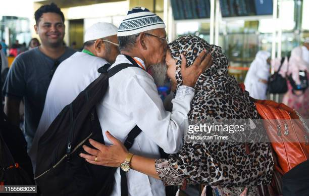 First batch of Haj pilgrims before leaving for flight at Chhatrapati Shivaji International Airport, Andheri, on July 13, 2019 in Mumbai, India. The...