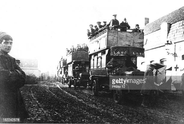 First battle of Ypres Second battalion of the Royale Warwickshire transported by English towers from Diskebusch to Ypres November 6 World War I...