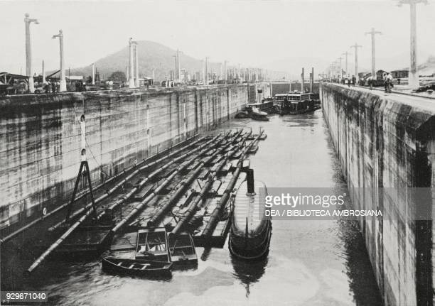 First boats in the Pedro Miguel lock Panama Canal photograph by Underwood from L'Illustrazione Italiana Year XL No 49 December 7 1913