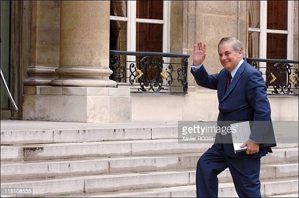 First cabinet meeting of the Villepin government at the Elysee Palace in Paris France on June 03 2005 Pascal Clement Minister of Justice