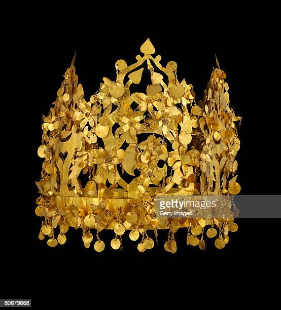A first century crown measuring 450 x 130cm from a tomb in Tillia Tepe Afghanistan provided by The Afghanistan National Museum is pictured at the...