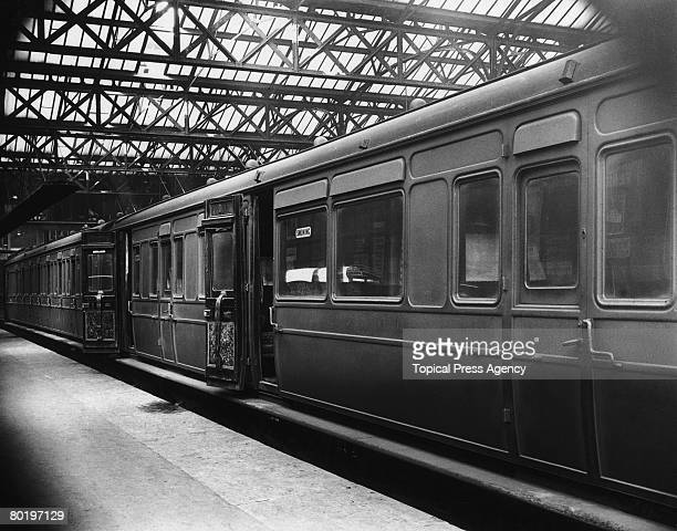 A first class coach at Charing Cross Station January 1924