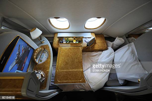 A first class seat configured for sleeping aboard an Emirates Airlines A380 on August 1 2008 Emirates becomes the first commercial Airbus A380 jet to...