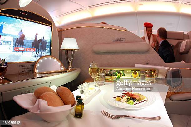 First class seat of Emirates Airbus A380 registration A6EDP at Munich Airport Franz Joseph Strauss on November 25 2011 in Munich Germany Emirates...