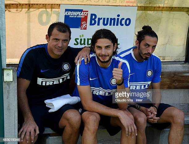 First Club Manager Dejan Stankovic Andrea Ranocchia and Ezequiel Schelotto attend a FC Internazionale training session on August 5 2015 in Bruneck...