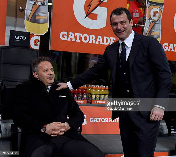 First Club Manager FC Internazionale Dejan Stankovic and head coach AC Milan Sinisa Mihajlovic chat prior to the Serie A match between AC Milan and...