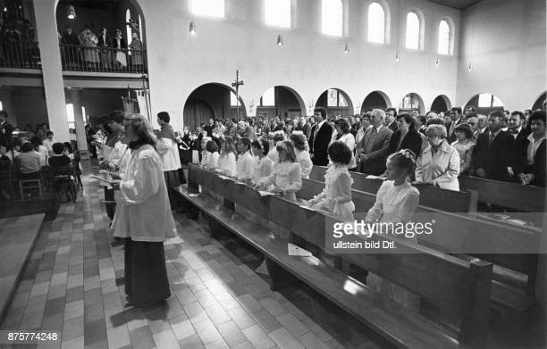 First Communion in Paris confirmees during mass probably in Sweden