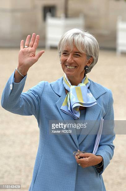 First council of ministers in the new government of Nicolas Sarkozy in Paris, France on May 18, 2007 - Christine Lagarde Minister of Agriculture and...