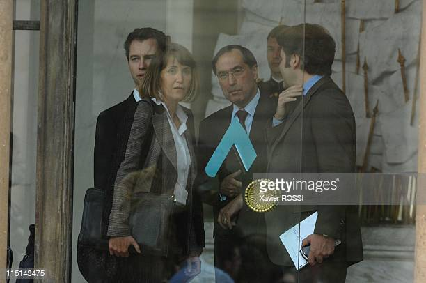 First council of ministers in the new government of Nicolas Sarkozy in Paris France on May 18 2007 Christine Albanel minister of Culture and...