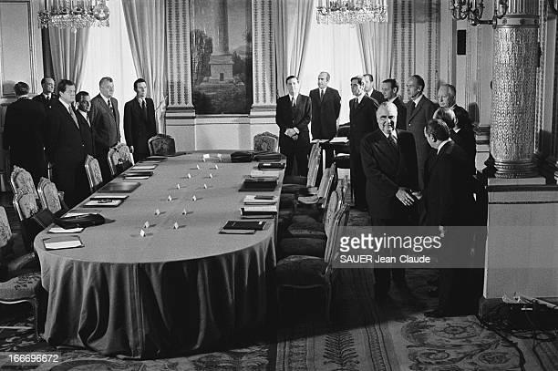 First Council Of Ministers Of Third Messmer Government Paris 6 mars 1974 Premier Conseil des ministres du troisième gouvernement Pierre Messmer à...