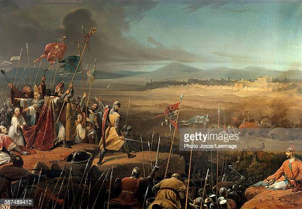 Battle delivered under the walls of Antioch between the crusaders led by Bohemond and the army of Karbouka general of the Sultan of Persia The bishop...