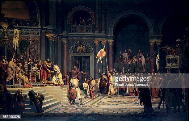 Godfroy of Bouillon Duke of the BasseLorraine making a pact of allegiance to the Byzantine Emperor Alexius Comnenus in Constantinople1097 Painting by...