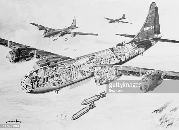 First Cutaway of B29 In this the first complete cutaway of the B29 to be approved by the War Department For publication the complexity of America's...
