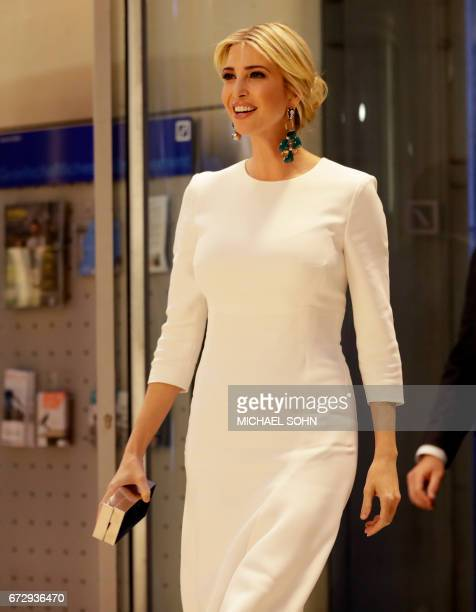 First Daughter and Advisor to the US President Ivanka Trump arrives for a gala dinner on the sidelines of the W20 summit on April 25 2017 in Berlin /...