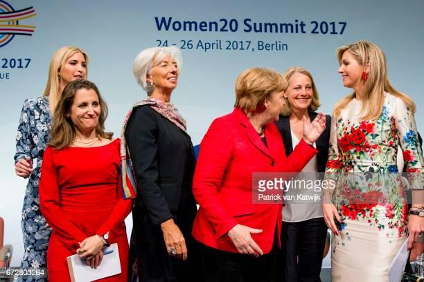 First Daughter and Advisor to the US President Ivanka Trump Christine Lagarde of the International Monetary Fund German Chancellor Angela Merkel and...