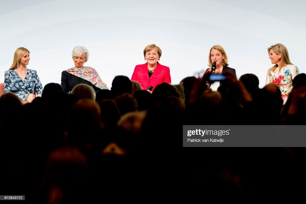 First Daughter and Advisor to the US President Ivanka Trump, Christine Lagarde of the International Monetary Fund, German Chancellor Angela Merkel, moderator Miriam Meckel and Queen Maxima of The Netherlands as UN Secretary General's Special Advocate for Inclusive Finance and Development attend the W20 conference on April 25, 2017 in Berlin, Germany. The conference, part of a series of events in connection with Germany's leadership of the G20 group of nations this year, focuses on women's empowerment, especially through entrepreneurship and the digital economy.