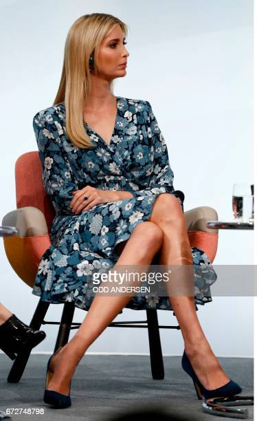 First Daughter and Advisor to the US President Ivanka Trump gestures as she attends a panel discussion at the W20 women's empowerment summit...