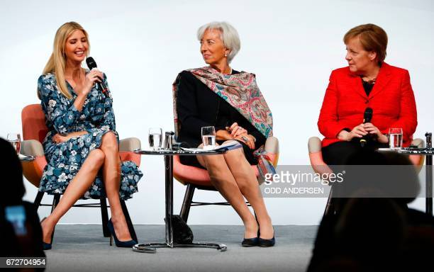 First Daughter and Advisor to the US President Ivanka Trump Managing Director of the International Monetary Fund Christine Lagarde and German...