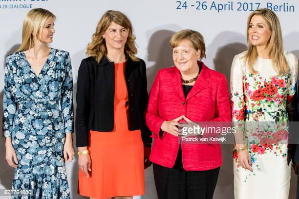 First Daughter and Advisor to the US President Ivanka Trump cochairwoman of the W20 Stephanie Bschorr German Chancellor Angela Merkel Queen Maxima of...