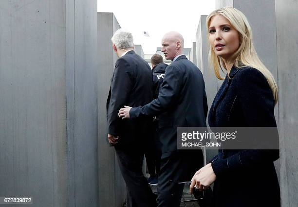 First Daughter and Advisor to the US President Ivanka Trump visits the Holocaust memorial during her visit on April 25 2017 in Berlin / AFP PHOTO /...