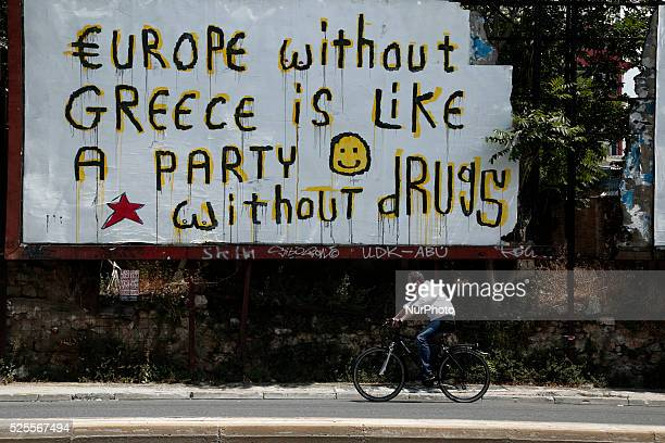First day after Greece became the first advanced economy to default on the IMF Wednesday July 1st 2015 Street scene with poster