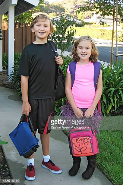 First day of school brother sister