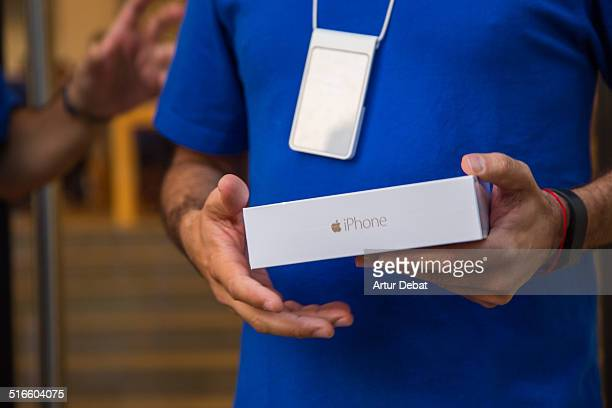 First day of the IPhone 6 and IPhone 6 Plus release in Spain with the first iPhone 6 in the Barcelona's city Apple Store September 26th of 2014...