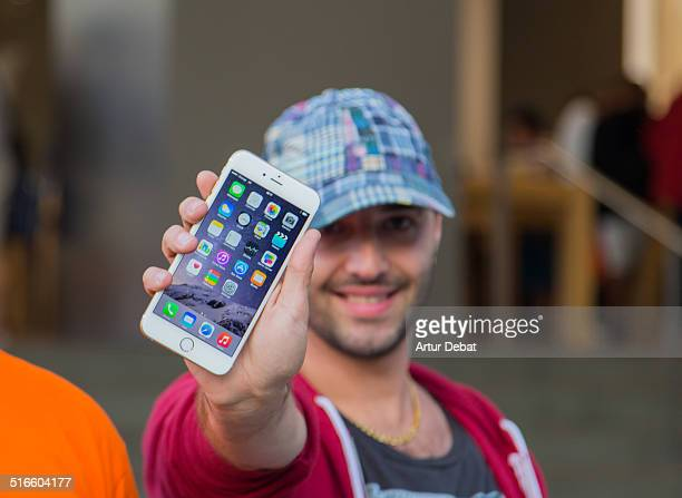 First day of the IPhone 6 and IPhone 6 Plus release in Spain with the firsts buyers in the Barcelona's city Apple Store September 26th of 2014...