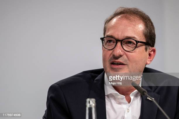 First Deputy Leader of the CDU/CSU Group in the Bundestag Alexander Dobrindt attends a press conference following a meeting of the climate protection...