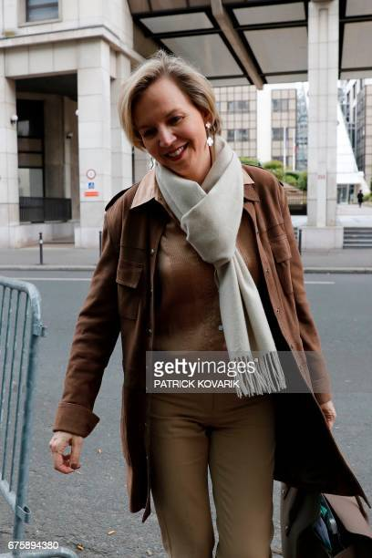 First Deputy Mayor of Bordeaux Virginie Calmels arrives for a political committee behind closed doors of the rightwing Les Republicains party at the...