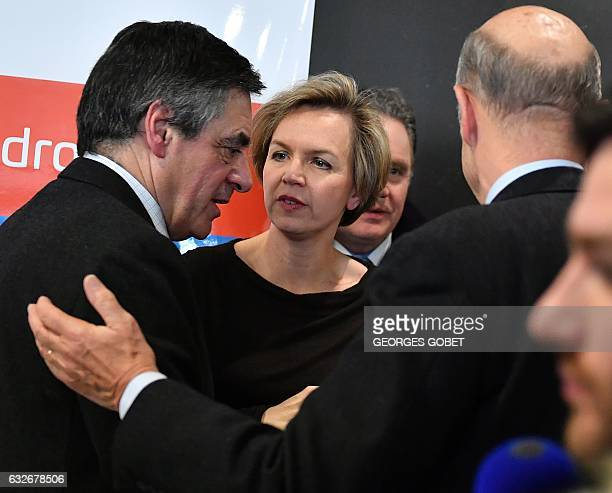 First Deputy Mayor of Bordeaux Virginie Calmels Bordeaux's Mayor Alain Juppe and rightwing candidate for the upcoming presidential election Francois...