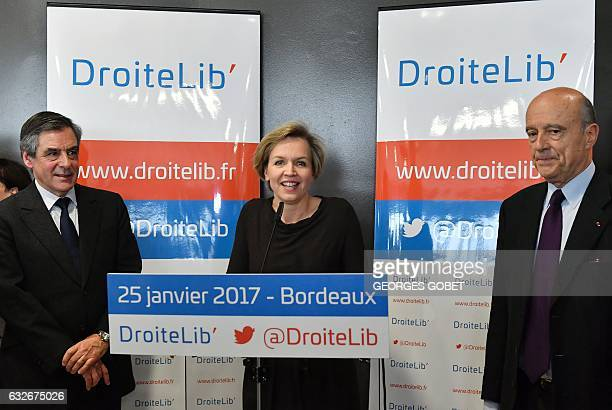 First Deputy Mayor of Bordeaux Virginie Calmels flanked by Bordeaux's Mayor Alain Juppe and rightwing candidate for the upcoming presidential...