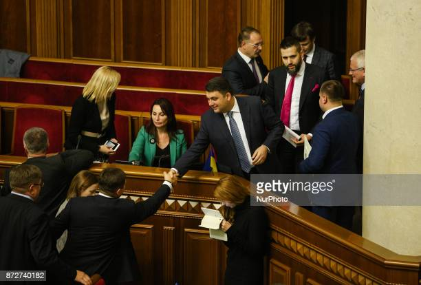 First deputy minister Ministry of Economic Development and Trade of Ukraine Max Nefyodov shakes hands with Prime Minister of Ukraine Volodymyr...