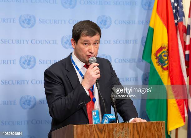 First Deputy Permanent Representative of Russia Dmitry Polyanskiy to UN speaks to press after SC meeting on situation in Ukraine at UN Headquarters