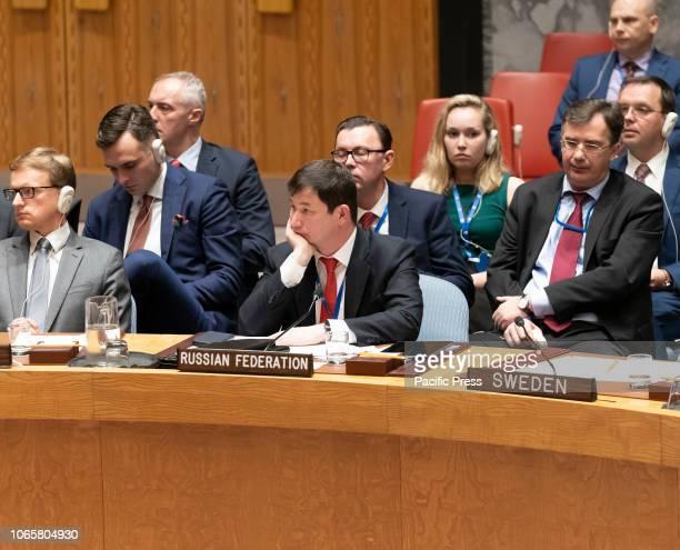 First Deputy Permanent Representative of Russia Dmitry Polyanskiy to UN attends SC meeting on situation in Ukraine at UN Headquarters