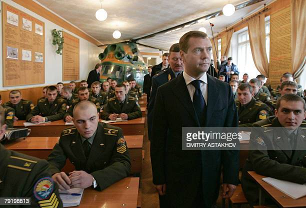 First Deputy Prime Minister and presidential candidate Dmitry Medvedev attends a class studies during his visit to the Higher Military Aircraft...
