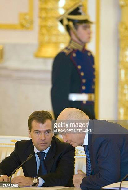 First Deputy Prime Minister Dmitry Medvedev speaks with Moscow Mayor Yuri Luzhkov during a session of the State Council in the Kremlin in Moscow 19...