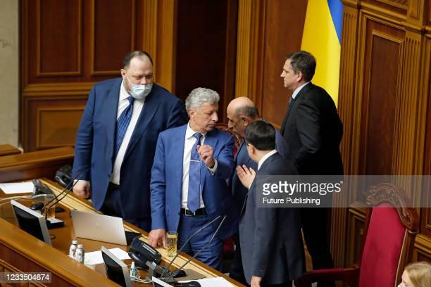 First Deputy Speaker Ruslan Stefanchuk, Opposition Platform - For Life faction co-heads Yurii Boiko, Vadym Rabinovych and Speaker Dmytro Razumkov are...